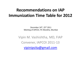 VMV-IAP Immunization Timetable 2012