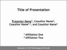 Presentation Guidelines for Powerpoint