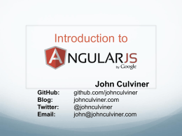 Intro To AngularJS Slide Deck