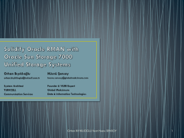 Solidfy RMAN Backup with Oracle Open Storage 7000 Series