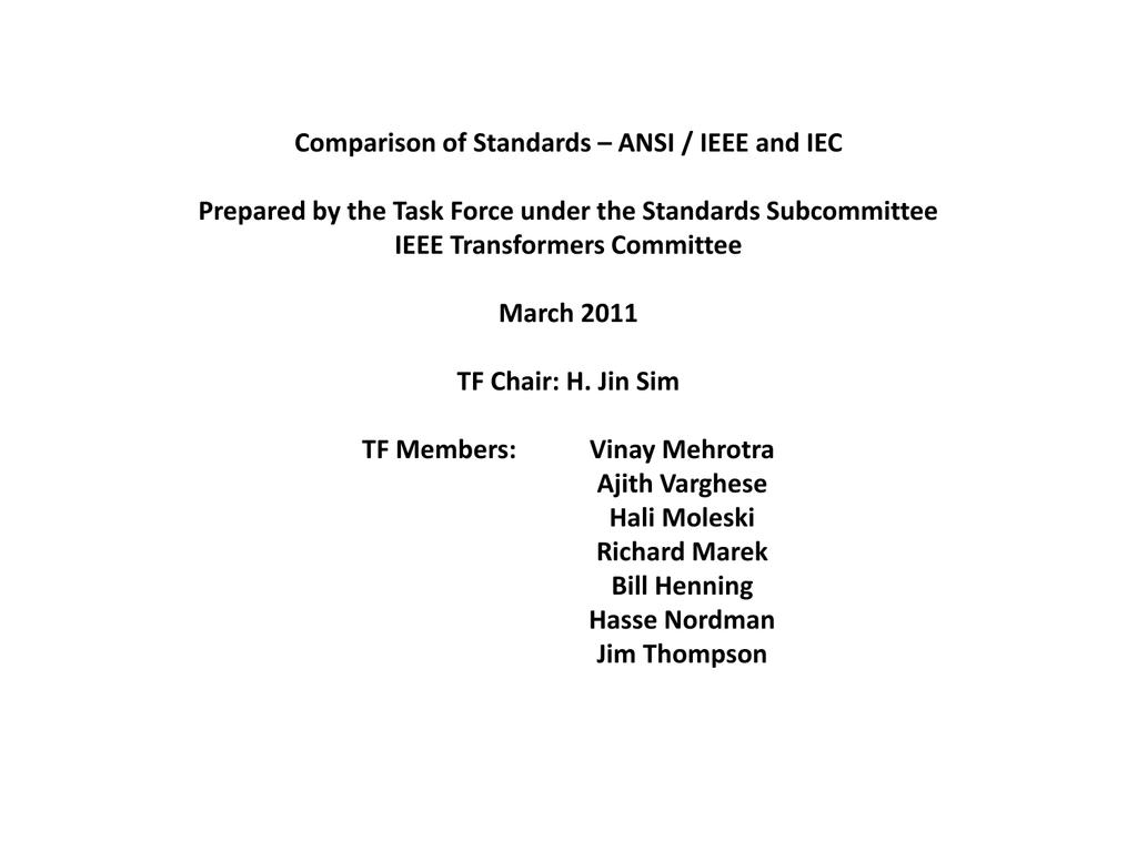 IEEE * IEC Transformer Test Standards Comparison C57 12 00