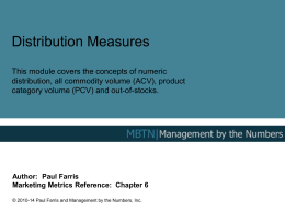 Numeric distribution - Management By The Numbers