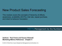 New Product Forecasting - Management By The Numbers