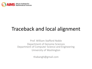 Traceback and local alignment - Noble Research Lab