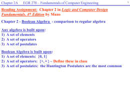 Chapter 2A – Boolean Algebra
