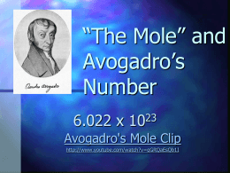 *The Mole* and Avogadro*s Number