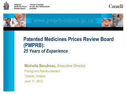PPTX - Patented Medicine Prices Review Board