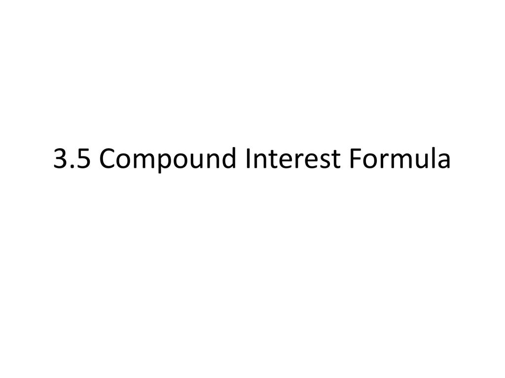 35 Compound Interest Formula