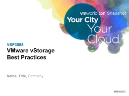 VMware Storage Best Practices