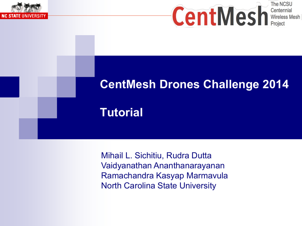 Drones Challege Tutorial - North Carolina State University