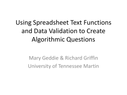 Algorithmic Problems - University of Tennessee at Martin