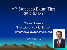 Starnes AP Statistics exam tips bfw may 2012