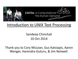 Introduction to Text Processing - CS273a