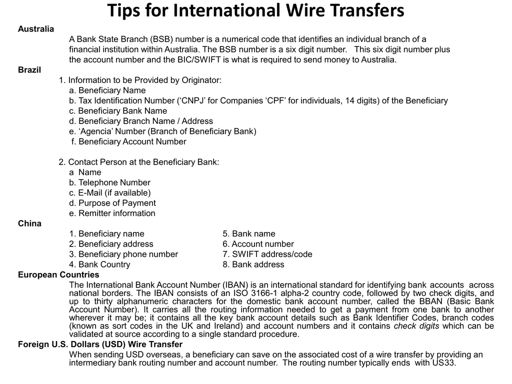 Tips for International Wire Transfers When Wiring Money Who Is The Beneficiary on