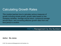 Growth Rates - Management By The Numbers