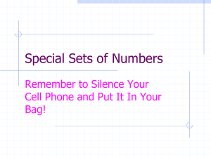 Special Sets of Numbers