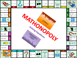 Solving equations: Monopoly board