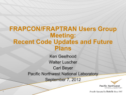 FRAPCON/FRAPTRAN Users Group Meeting - FRAPCON