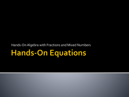 Hands on Equations - STEMTeachersNowPDProject