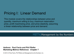 Pricing I: Linear Demand - Management By The Numbers