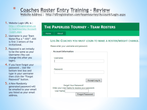 Roster Entry Training 2