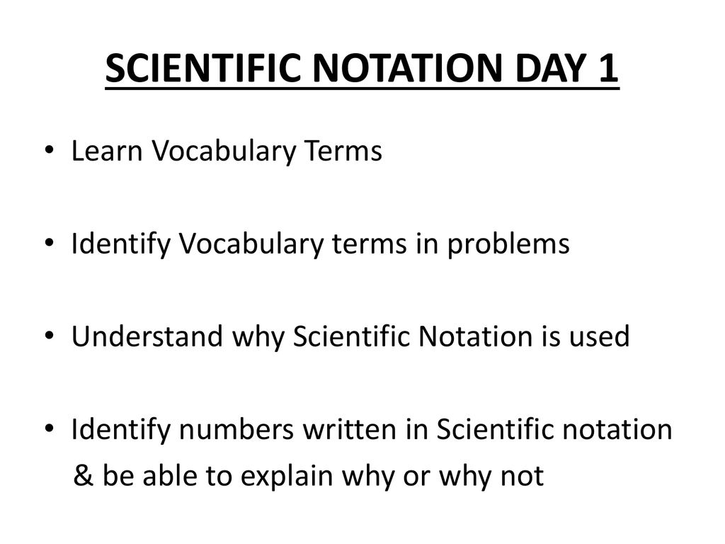 Scientific notation vocabulary scientific notation falaconquin