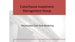 Discounted Cash Flow Modeling