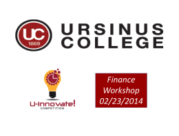 Slides from Finance Workshop - U