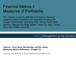 Measures of Profitability - Management By The Numbers