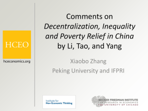 """Decentralization, Inequality, and Poverty Relief in China"" Xiaobo"