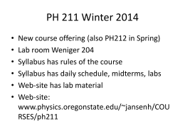 Wednesday January 8 - Physics at Oregon State University