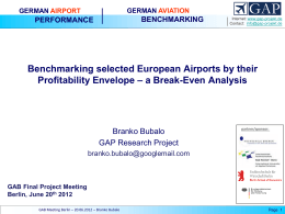 Benchmarking Slected European Aiports by Their