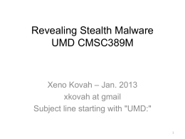 Slides - Persistence, Type 1 stealth malware, Type 2