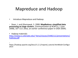 Hadoop Mapreduce - FSU Computer Science