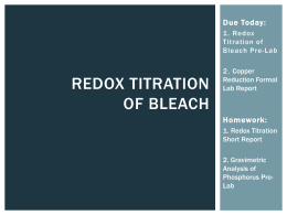 Lab 8: Redox Titration of Bleach
