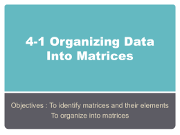 4-1 Organizing Data Into Matrices
