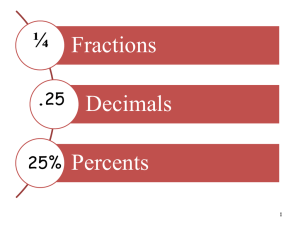 PPT Fractions, Decimals, & Percents