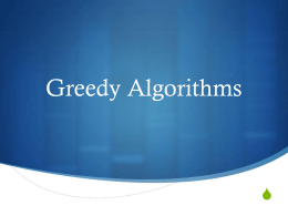 Greedy Algorithms / Introduction to Graphs