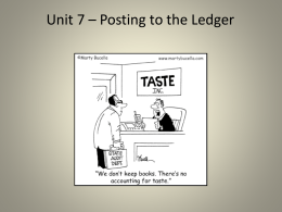 Unit #7 - Posting to the Ledger