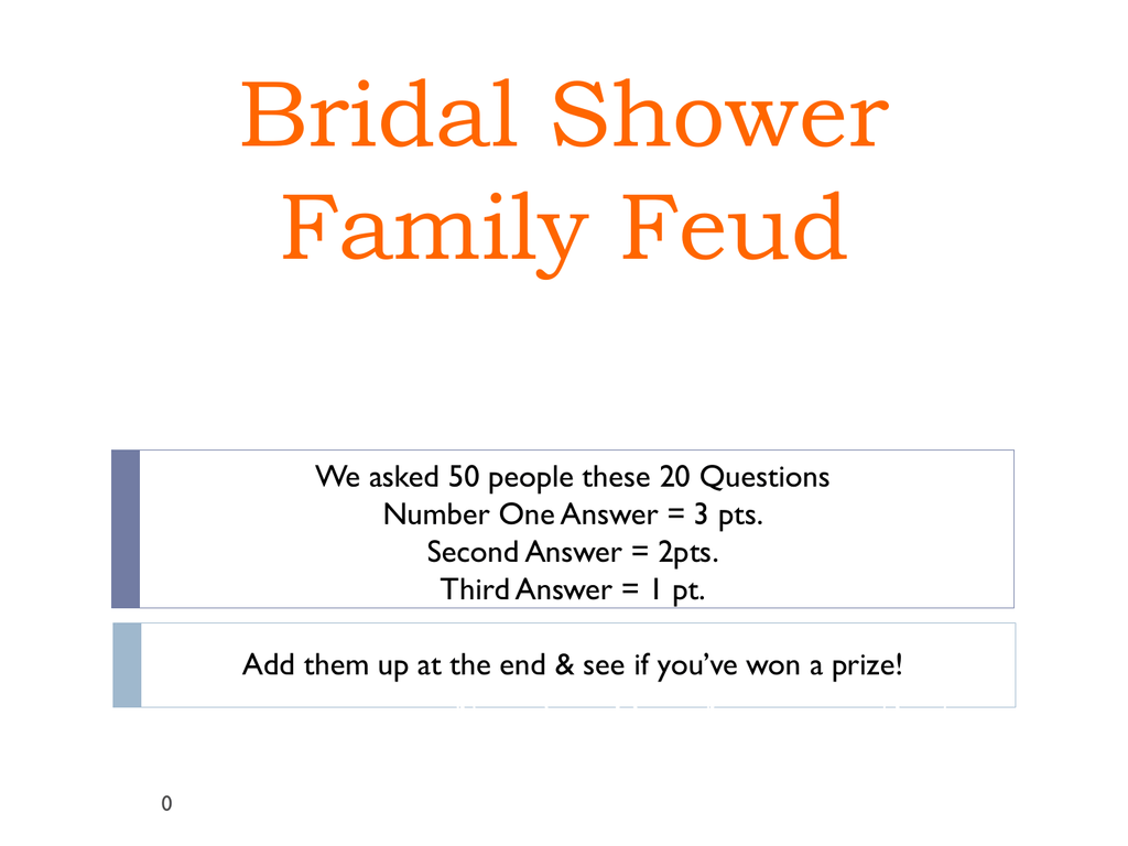 photo relating to Family Feud Printable titled Bridal Shower Relatives Feud PPT