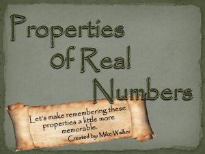 Properties of Real Numbers (ppt)