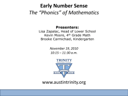 Early Number Sense The - Trinity Episcopal School