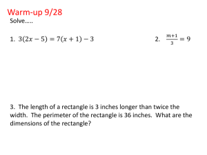 WORD PROBLEMS: Solving Equations