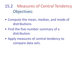 15.2 Measures of Central Tendency