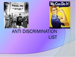 Unit 4 Outcome 1 - Anti Discrimination List