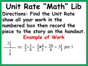 Find the Unit Rate A - Ms. Lathrup`s 6th Grade Math Class