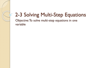 2-3 Solving Multistep Equations