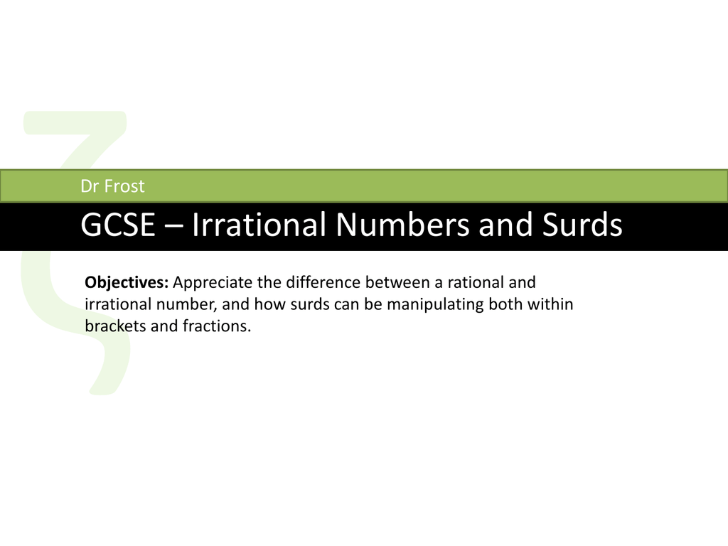 Slides Gcse Surds