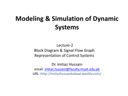 Lecture-2: Block Diagrams and Signal Flow