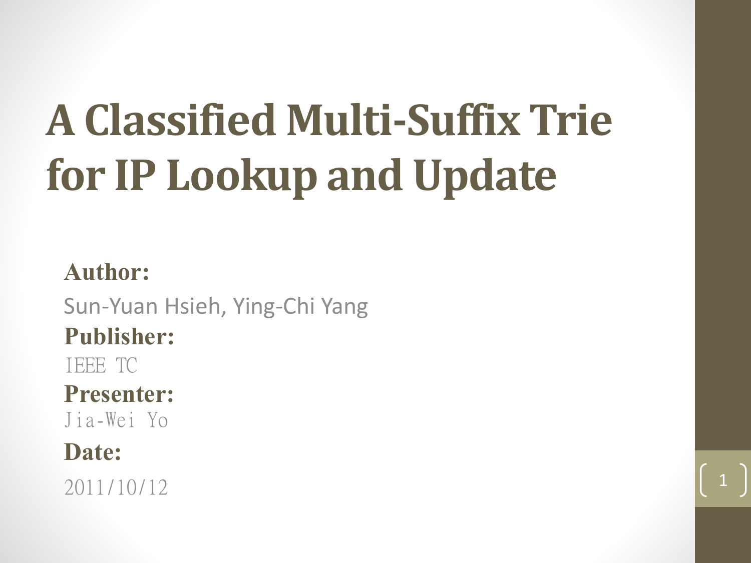 A Classified Multi-Suffix Trie for IP Lookup and Update Author